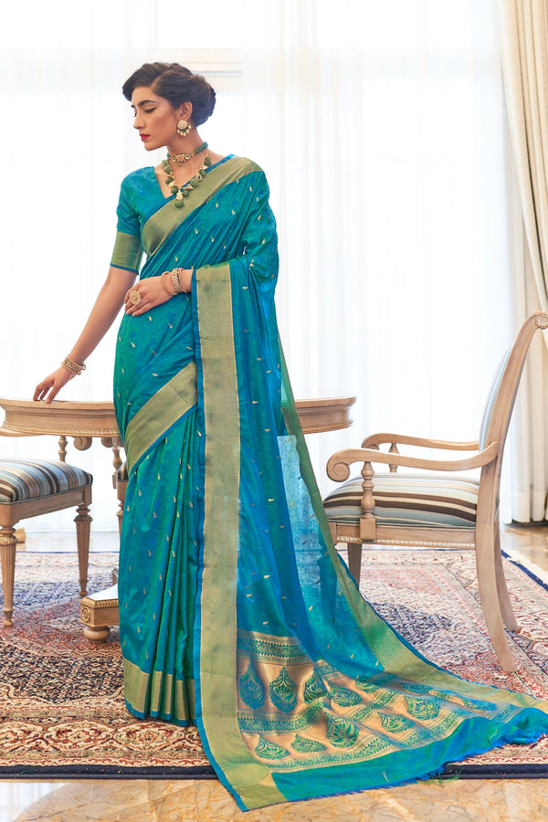 Sapphire Blue Ultra Soft Kanjivaram Silk Saree With Zari Detailing Blouse