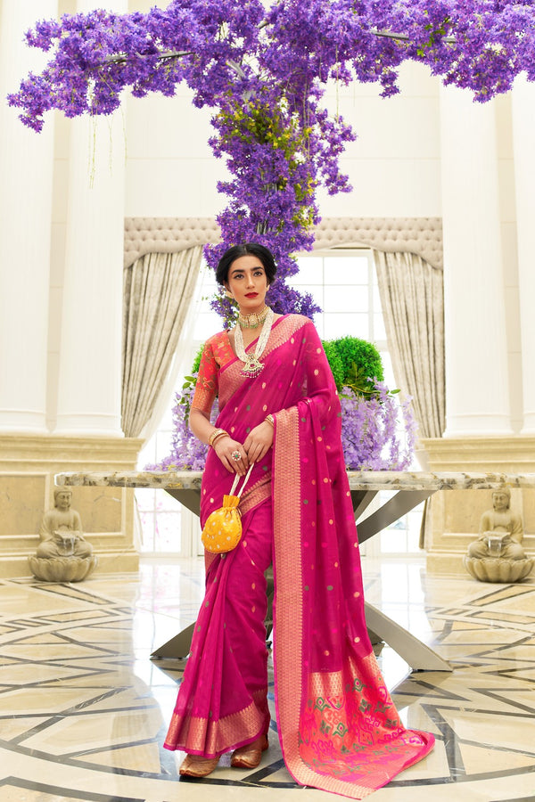 Wild Strawberry Pink Chanderi Silk Weaving Saree With Patola Pattern Weaving Blouse