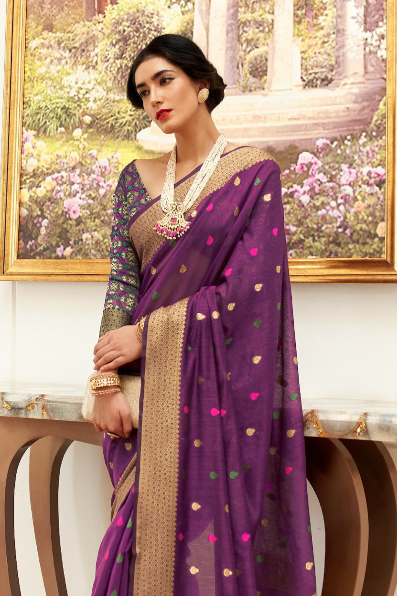 Mulberry Purple Chanderi Silk Weaving Saree With  Patola Pattern Weaving Blouse