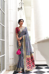 Silver Grey Chanderi Silk Weaving Saree With Contrast Patola Pattern Weaving Blouse