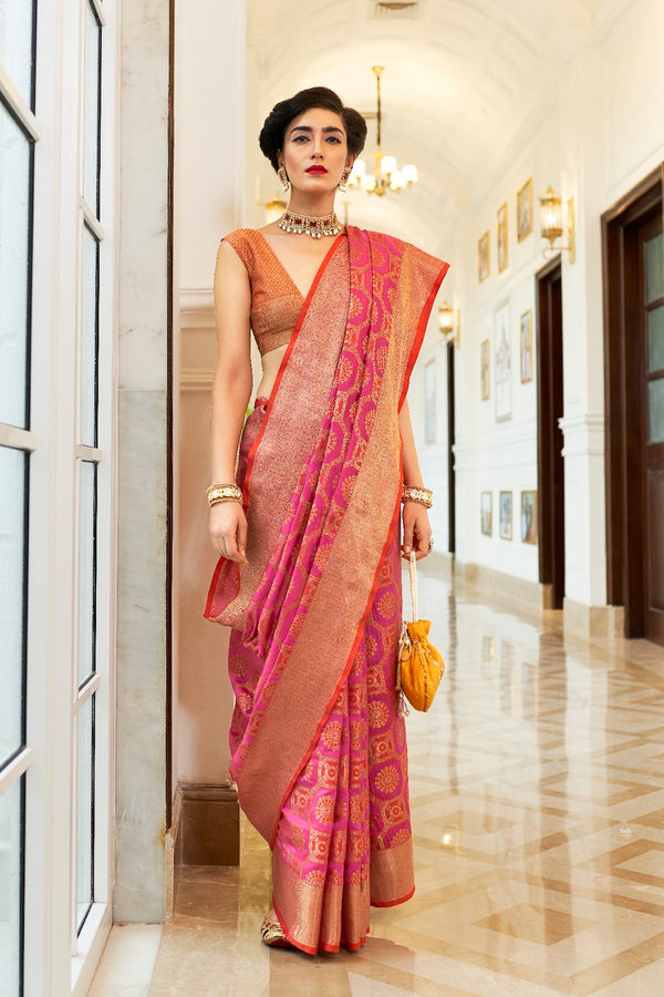Hot Pink Patola Silk Weaving Saree With Contrast Orange Zari Detailing Blouse