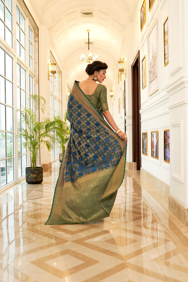 Persian Blue Patola Silk Weaving Saree With Contrast Green Zari Detailing Blouse