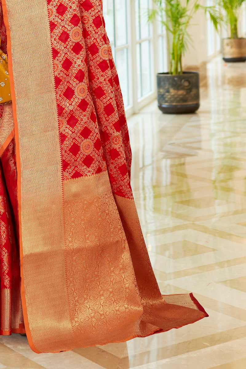 Flame Red Patola Silk Weaving Saree With Contrast Orange Zari Detailing Blouse