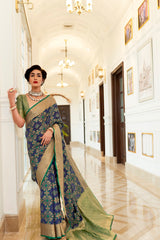 Midnight Blue Patola Silk Weaving Saree With Contrast Green Zari Detailing Blouse