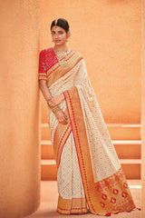 Pearl White Designer Silk Saree With Contrast Red Embroidered Blouse