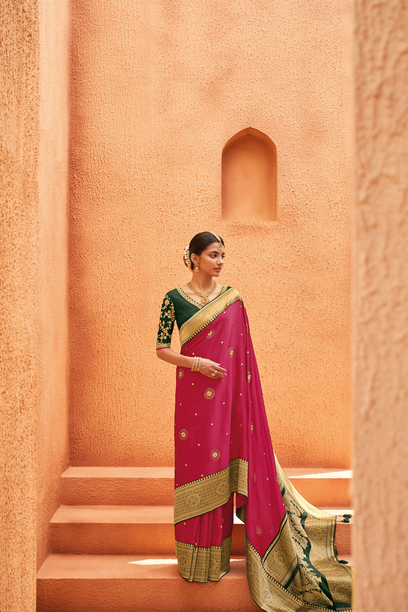 Rose Pink Designer Silk Saree With Contrast Dark Green Embroidered Blouse