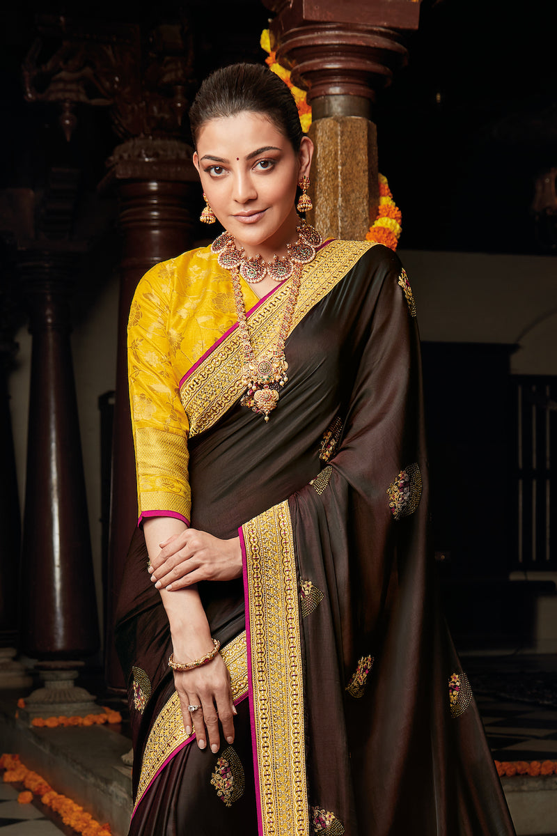 Cocoa Brown Designer Silk Saree with Contrast Yellow Designer Blouse