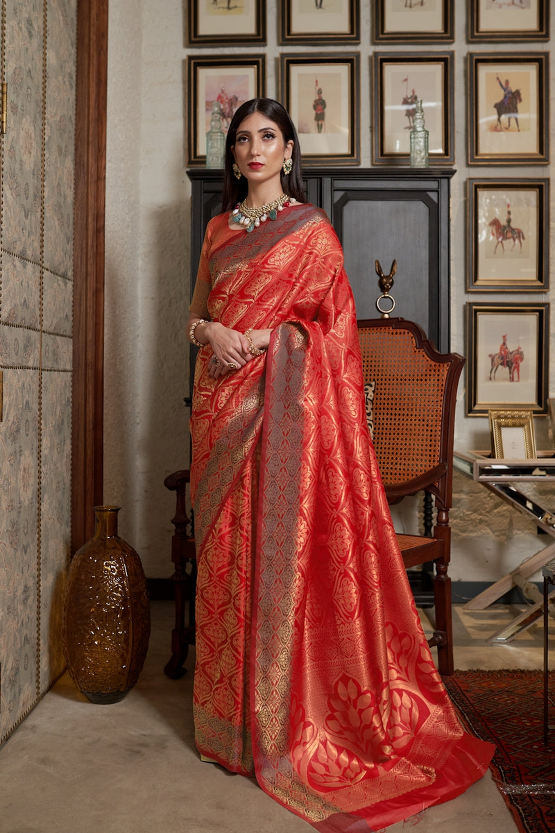 Rose Red Pure Satin Silk Handloom Weaving Saree with Red Designer Zari Detailing Blouse