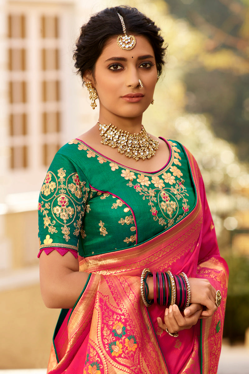 Pretty Pink Pure Banarasi Silk Saree With Embroidered Green Blouse