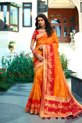 Desire Orange & Red Pure Banarasi Silk Saree With Embroidered Red Blouse