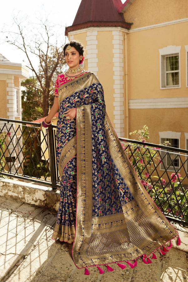 Breathtaking Blue Pure Banarasi Silk Saree With Embroidered Pink Blouse