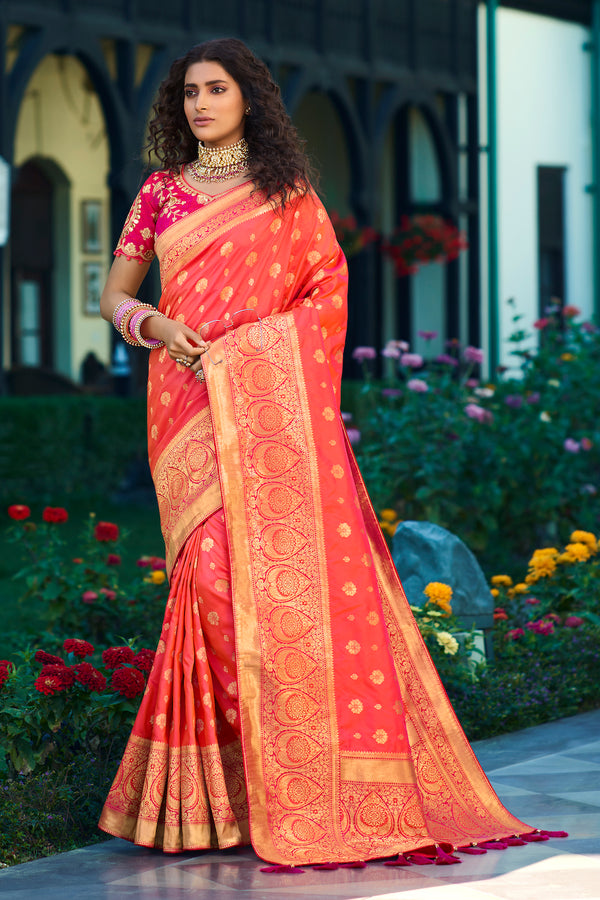 Peach Pink Pure Banarasi Silk Saree With Embroidered Pink Blouse