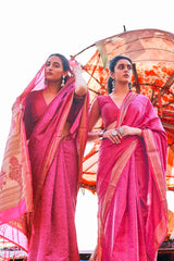 Mexican Pink Hand Woven Super Soft Silk Saree With Zari Bordered Pink Blouse