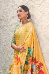 Sunshine Yellow Shimmering Floral Printed Soft Silk Saree With Floral Printed Blouse