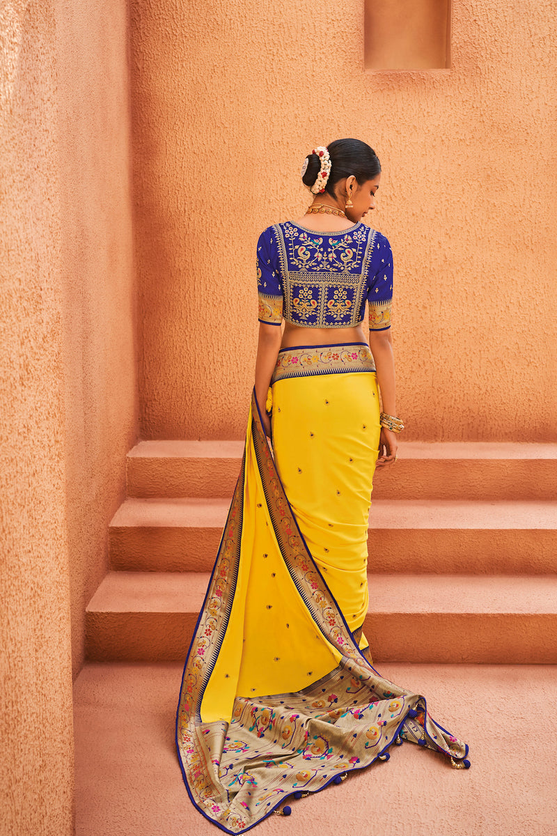 Paradise Yellow Designer Silk Saree With Contrast Blue Embroidered Blouse