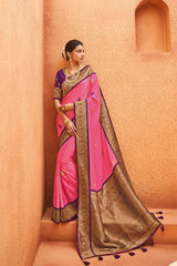 French Rose Pink Designer Silk Saree With Contrast Purple Embroidered Blouse