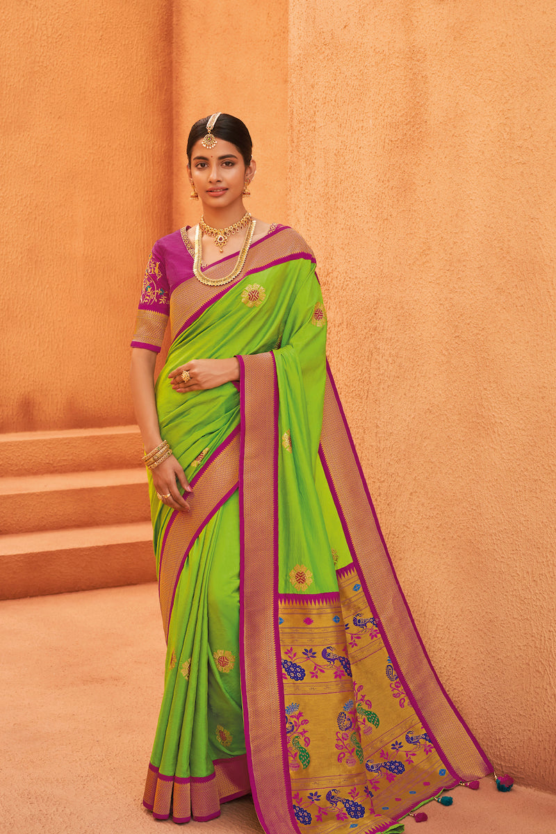 Neon Green Designer Silk Saree With Contrast Magenta Embroidered Blouse