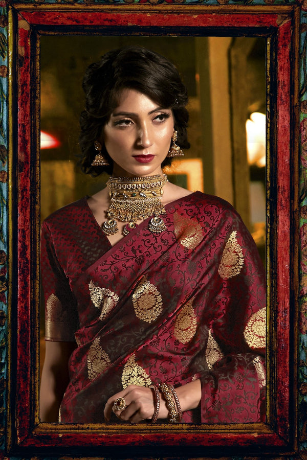 Bridal Berry Maroon Ultra Soft Silk Saree With Zari Bordered Blouse
