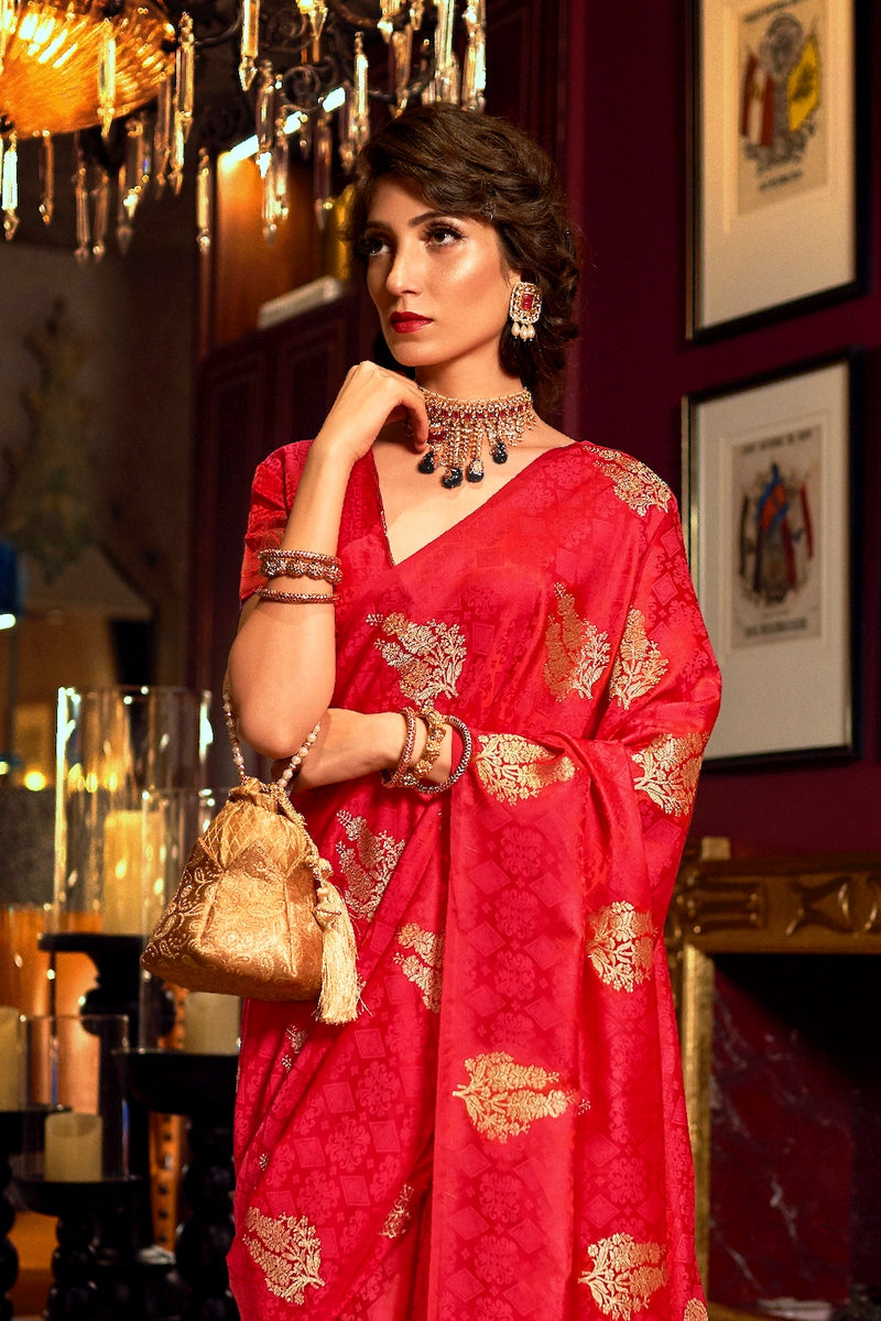 Bridal Vermillion Red Ultra Soft Silk Saree With Zari Bordered Blouse