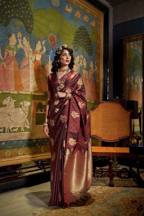 Bridal Rosewood Maroon Ultra Soft Silk Saree With Zari Bordered Blouse