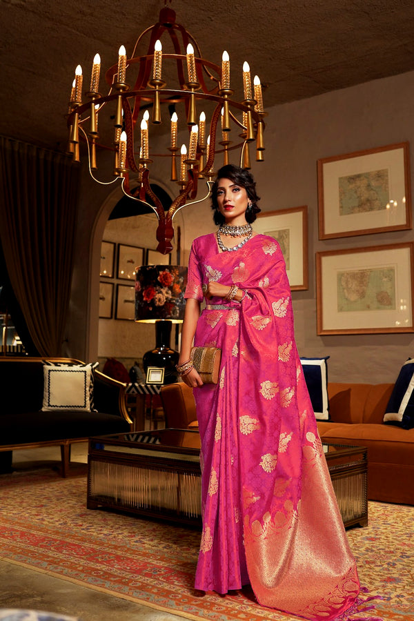 Bridal Bright Pink Ultra Soft Silk Saree With Zari Bordered Blouse