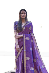Imperial Purple Soft Silk Saree with Gold Zari Work and Unstitched Zari Detailing Blouse