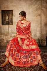 Rose Red Bandhani Silk Saree With Zari Border Blouse