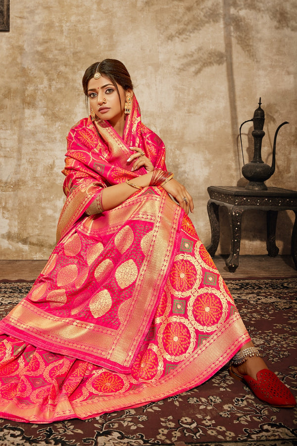 Princess Pink Bandhani Silk Saree With Zari Border Blouse