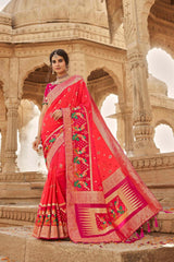 Neon Hot Pink Designer Banarasi Silk Saree With Contrast Zari Embroidered Dark Pink Blouse
