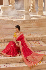 Desire Red Designer Banarasi Silk Saree With Contrast Zari Embroidered Gold Yellow Blouse