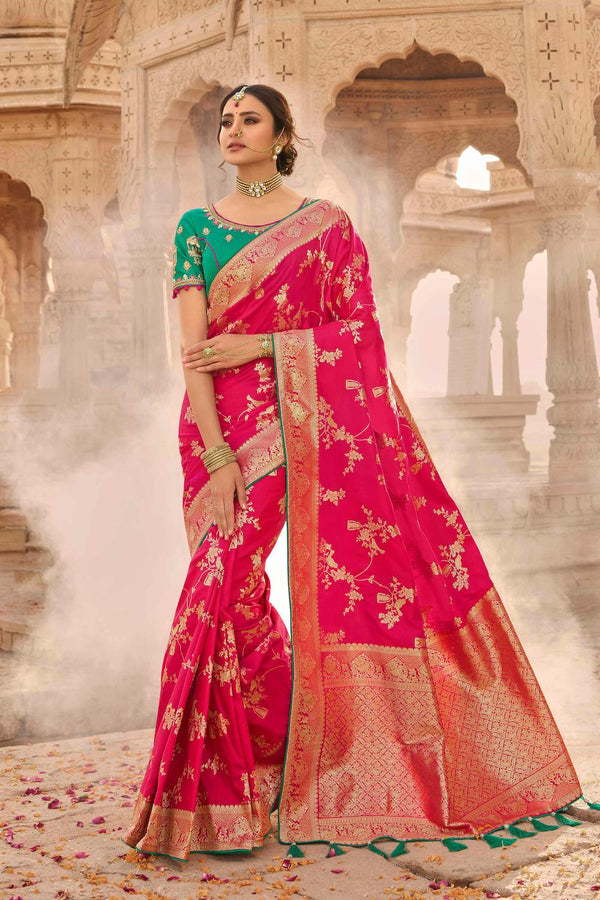 Precious Pink Designer Banarasi Silk Saree With Contrast Zari Embroidered Green Blouse