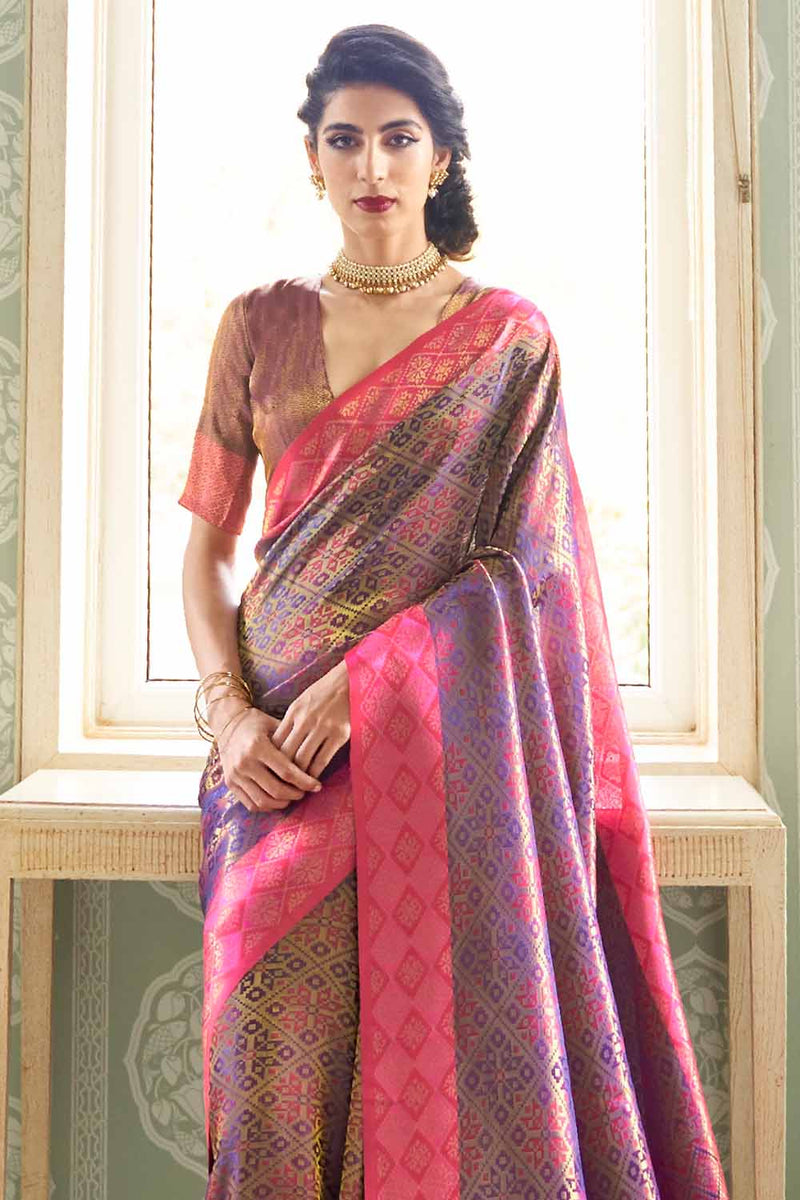 Chic Purple Woven Kanjivaram (Kanjeevaram) Silk Saree With Zari Detailing Blouse
