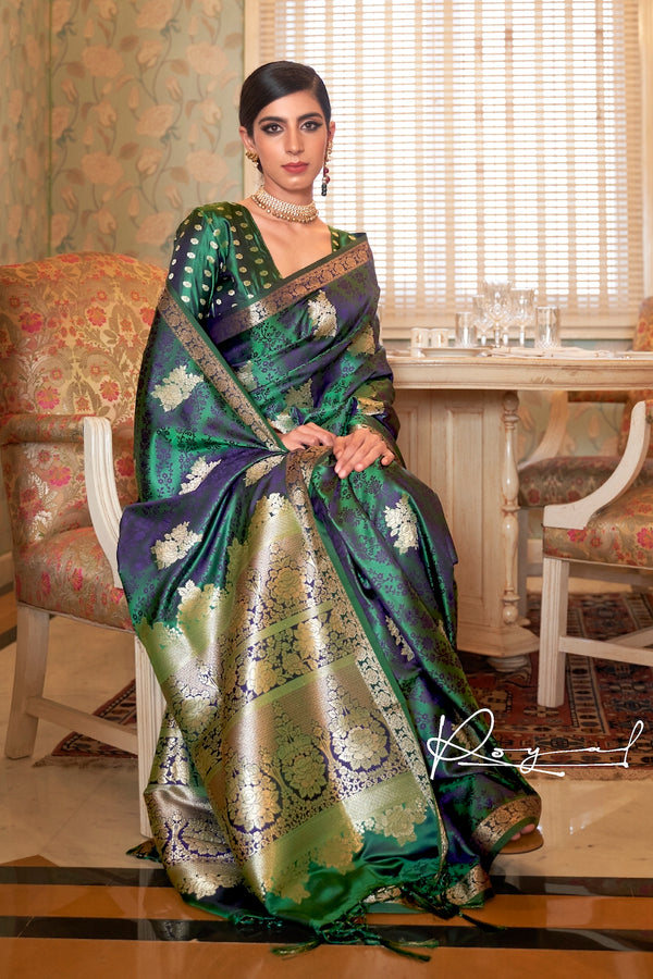 Bridal Green Ultra Soft Silk Saree With Zari Bordered Blouse