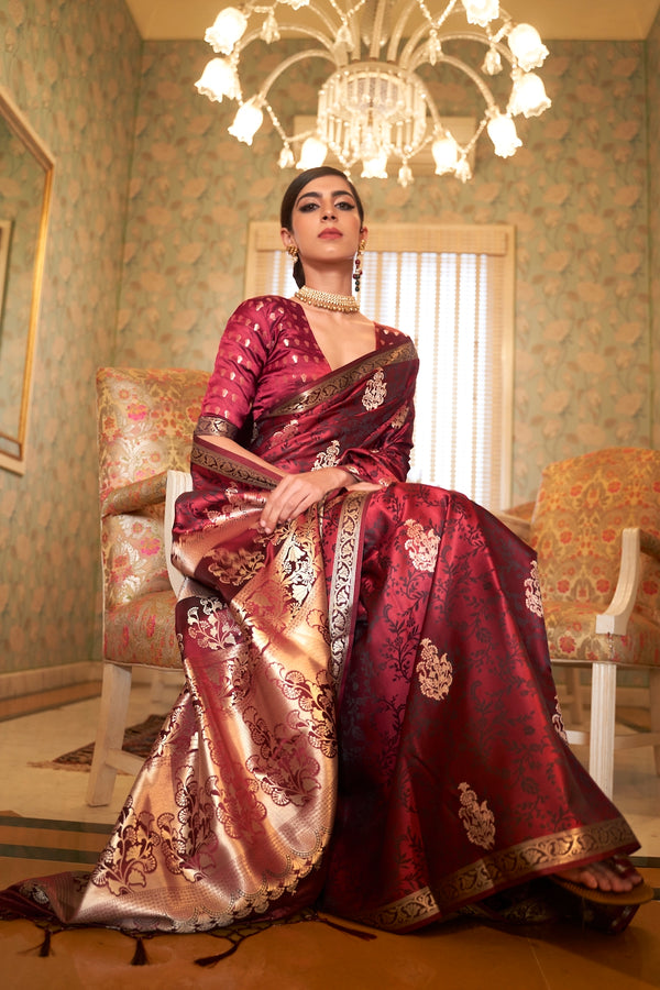 Bridal Maroon Ultra Soft Silk Saree With Zari Bordered Blouse
