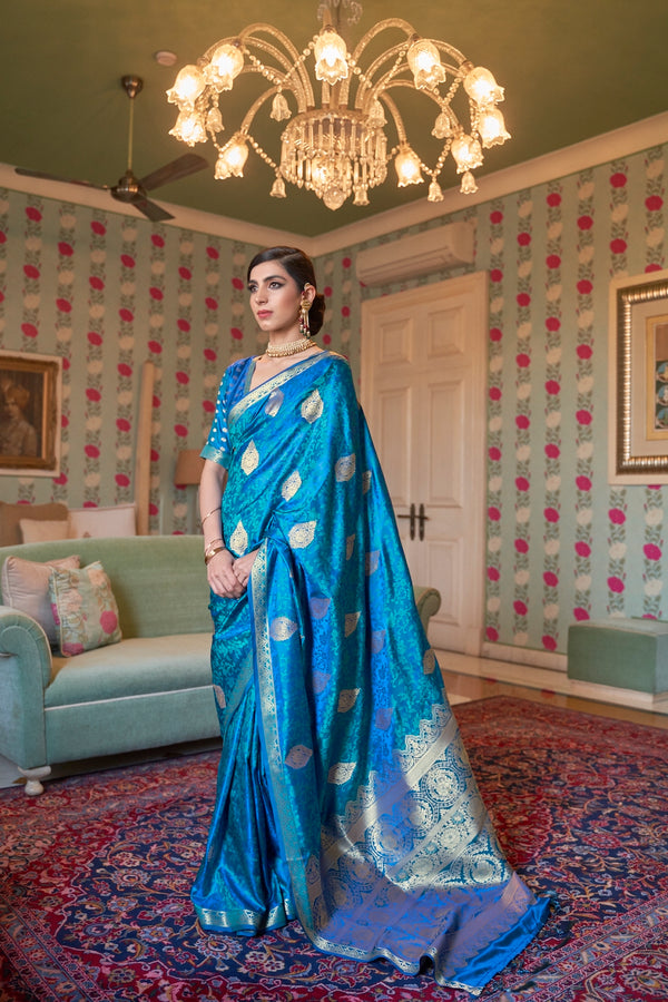 Bridal Blue Ultra Soft Silk Saree With Zari Bordered Blouse