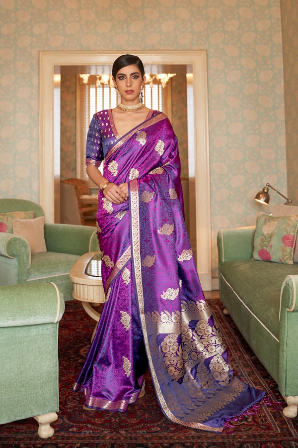 Bridal Purple Ultra Soft Silk Saree With Zari Bordered Blouse