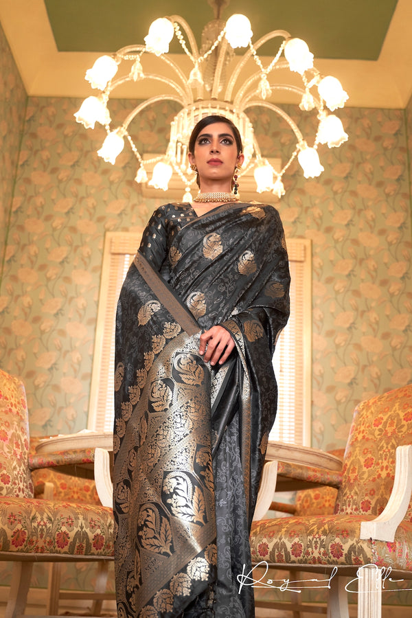 Bridal Black Ultra Soft Silk Saree With Zari Bordered Blouse