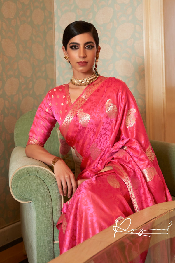Bridal Pink Ultra Soft Silk Saree With Zari Bordered Blouse
