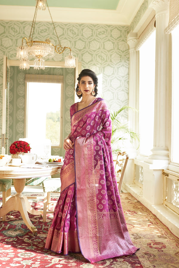 Queen Magenta Designer Silk Saree With Zari Detailing Blouse