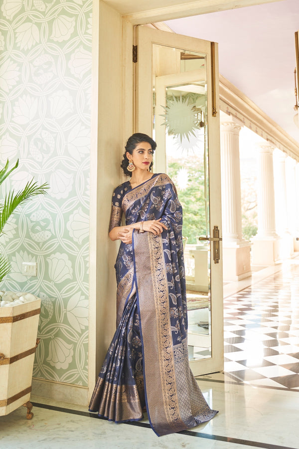 Queen Blue Designer Silk Saree With Zari Detailing Blouse