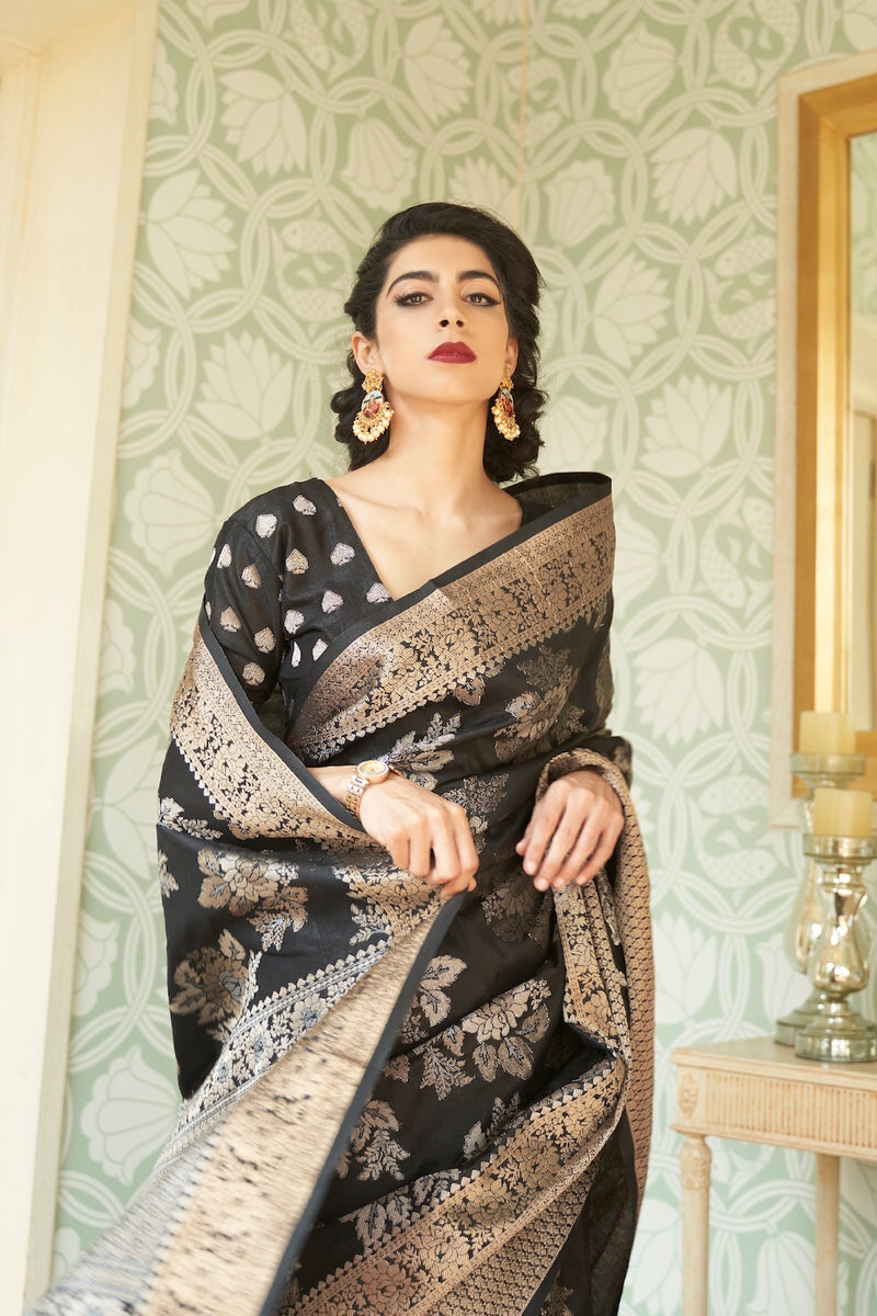 Queen Black Designer Silk Saree With Zari Detailing Blouse