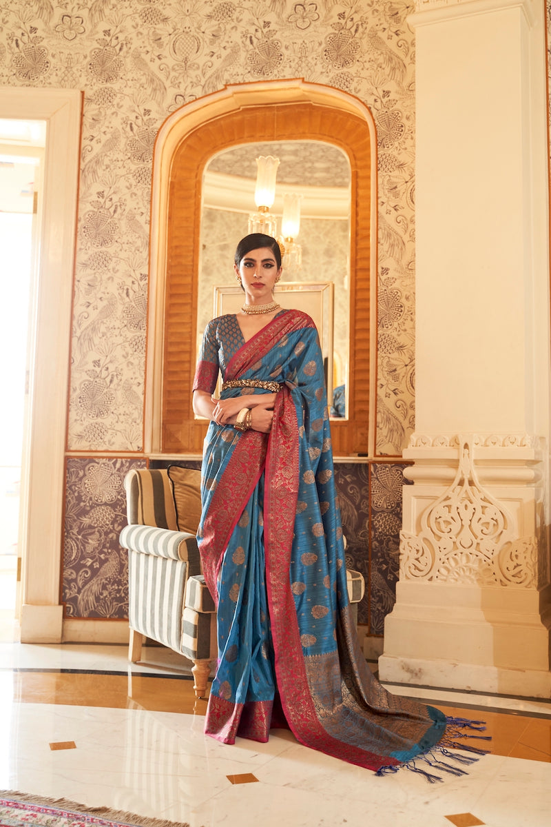 Crown Blue Designer Silk Saree With Zari Detailing Blouse