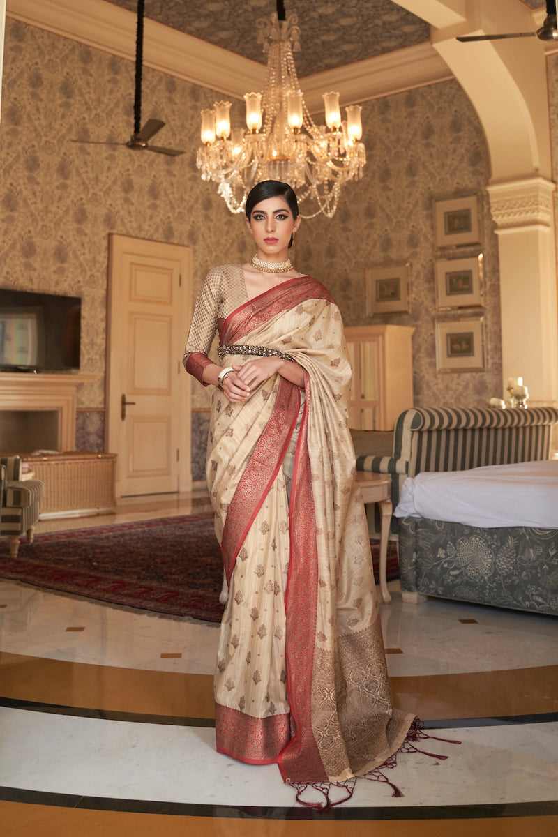 Crown Ivory Designer Silk Saree With Zari Detailing Blouse