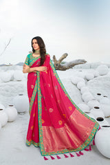 Bold Pink Designer Banarasi Silk Saree With Contrast Zari Embroidered Blouse