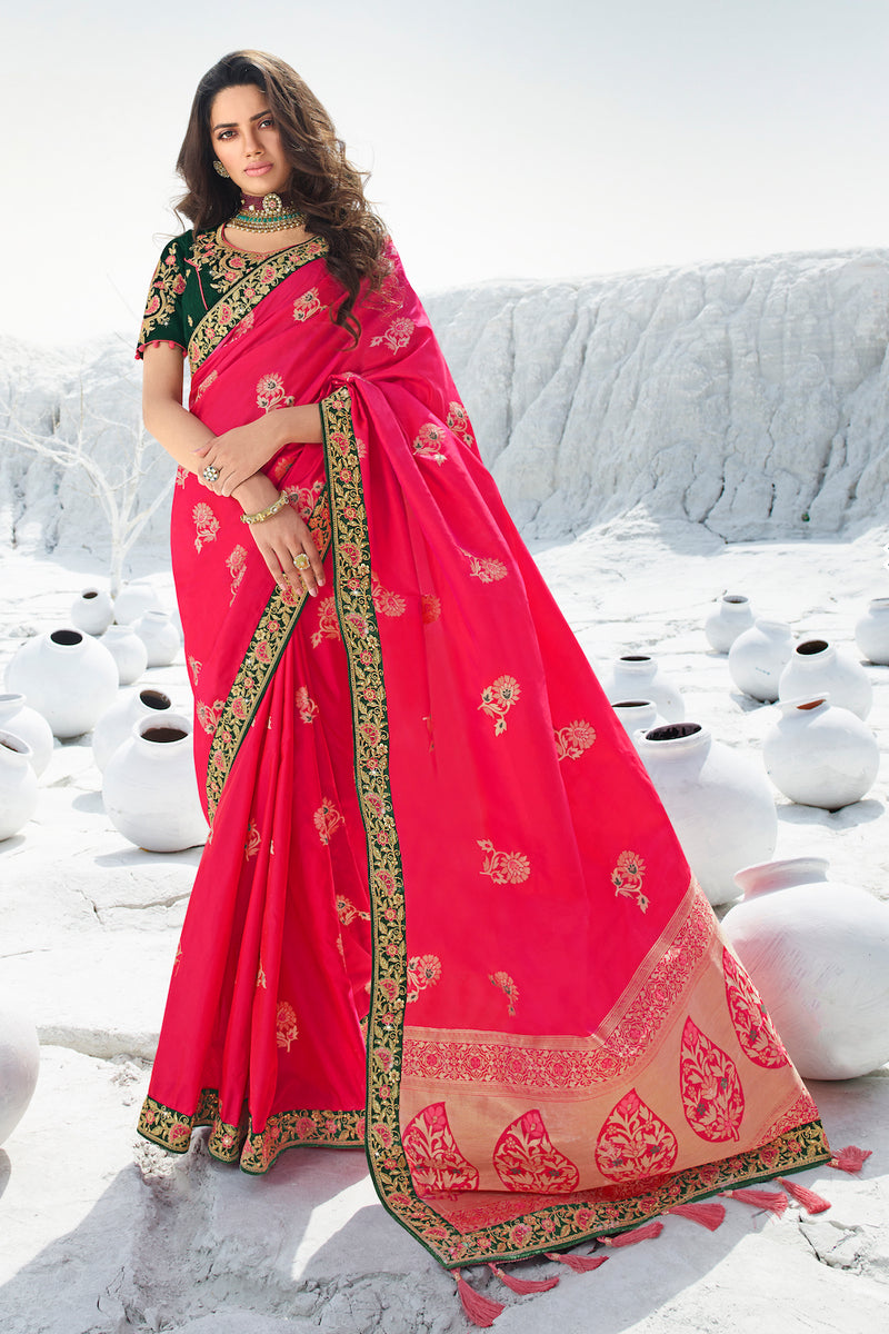 Bold Hot Pink Designer Banarasi Silk Saree With Contrast Zari Embroidered Blouse