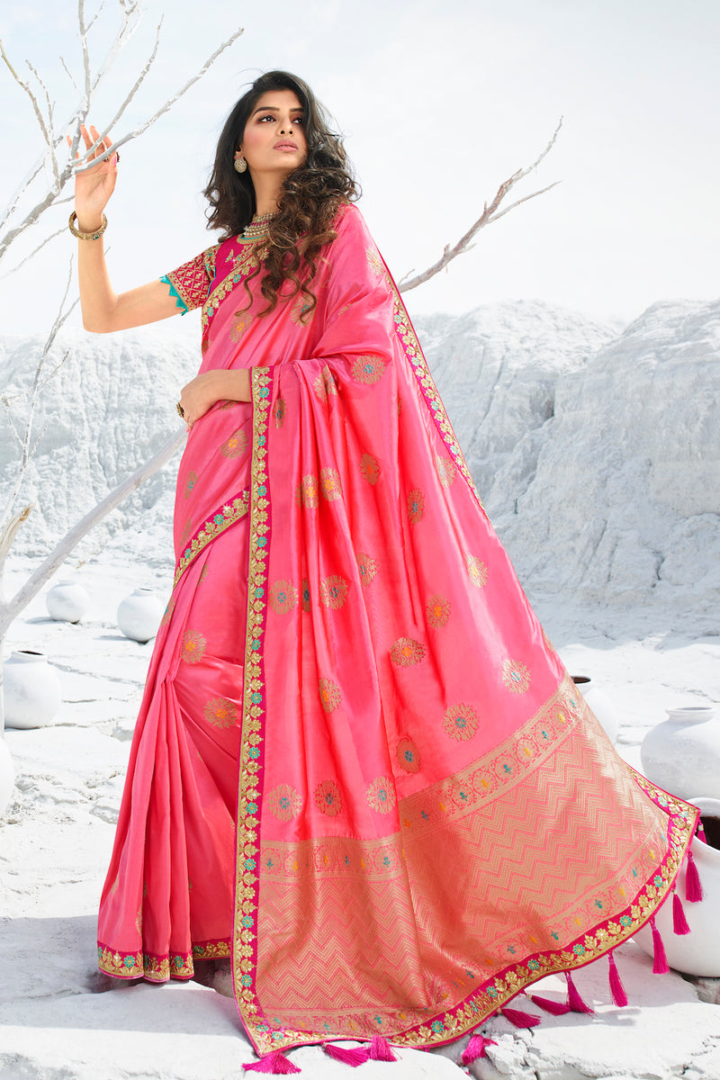 Bold Punch Pink Designer Banarasi Silk Saree With Contrast Zari Embroidered Blouse