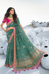 Bold Hunter Green Designer Banarasi Silk Saree With Contrast Zari Embroidered Blouse