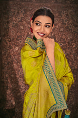 Prestige Lime Green Designer Silk Saree with Contrast Designer Blouse