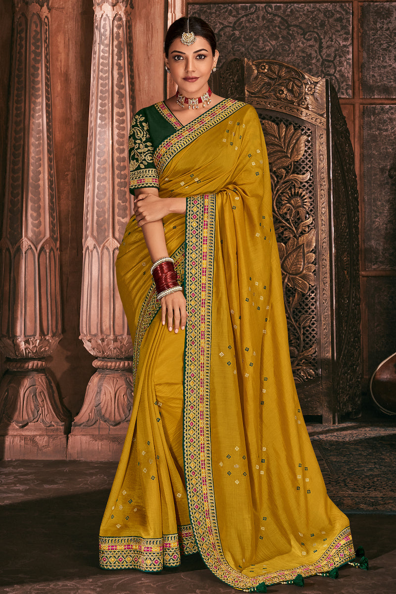 Prestige Gold Yellow Designer Silk Saree with Contrast Designer Blouse