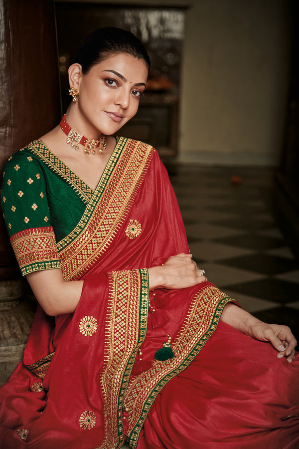 Raspberry Red Designer Silk Saree with Contrast Green Designer Blouse